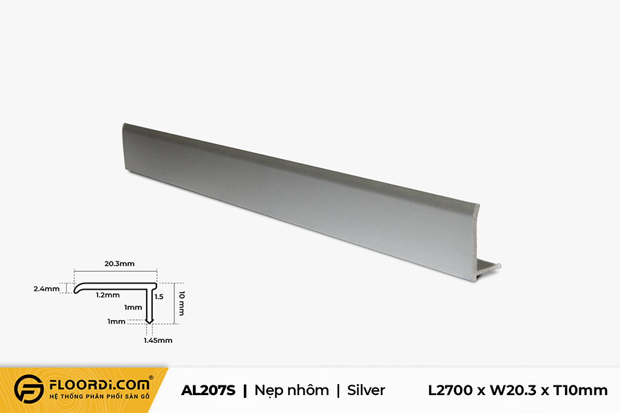 Nẹp nhôm kết thúc sàn AL207S – Silver
