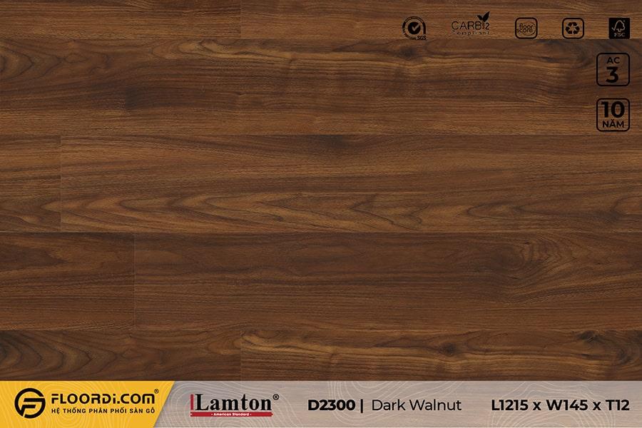 Sàn gỗ Lamton D2300 Dark Walnut – 12mm – AC3