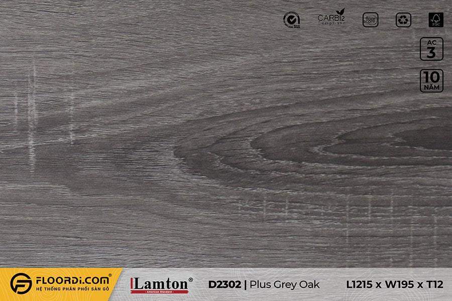 Sàn gỗ Lamton D2302 Plus Grey Oak – 12mm – AC3