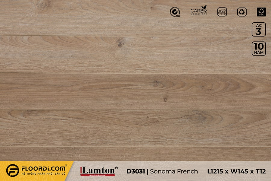 Sàn gỗ Lamton D3031 Sonoma French Oak – 12mm – AC3