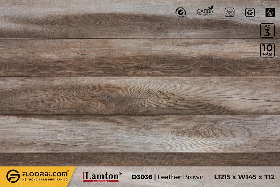 Sàn gỗ Lamton D3036 Leather Brown – 12mm – AC3