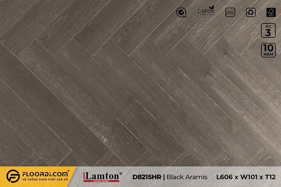 Sàn gỗ Xương Cá Lamton D8215HR Black Aramis – 12mm – AC3