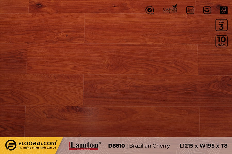 Sàn gỗ Lamton D8810 Brazilian Cherry – 8mm – AC3