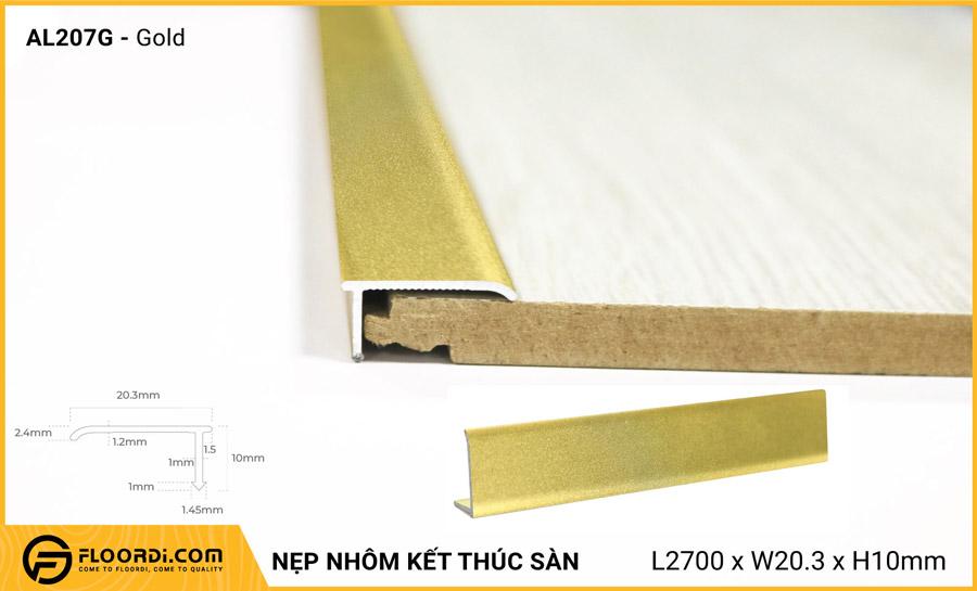 Nẹp nhôm kết thúc sàn AL207G – Gold