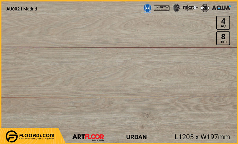 Sàn gỗ Artfloor AU002 – Urban – Madrid – 8mm – AC4