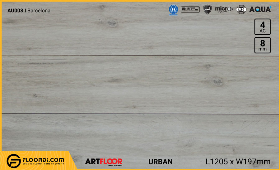 Sàn gỗ Artfloor AU008 – Urban – Barcelona – 8mm – AC4