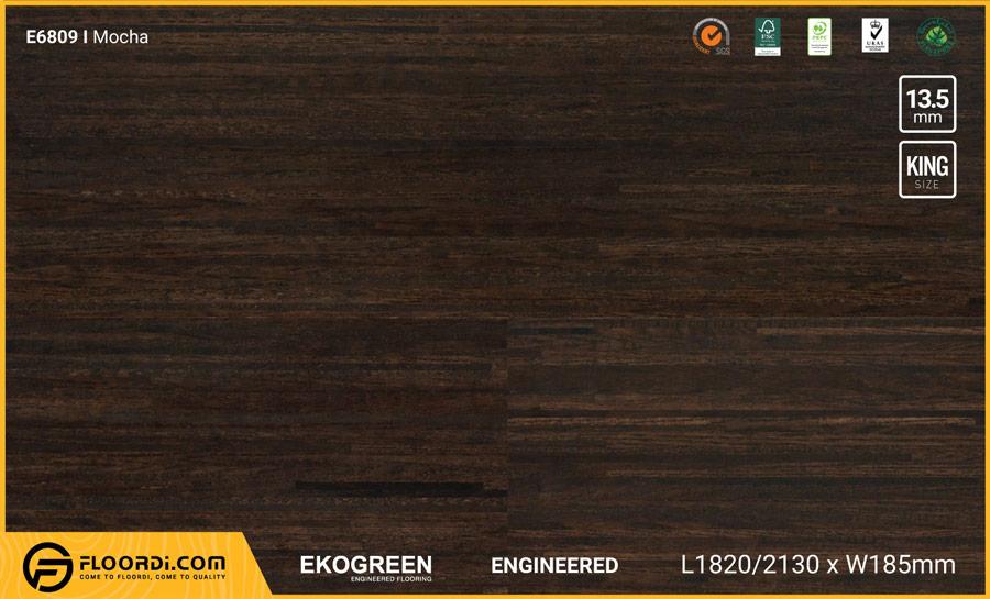 Sàn gỗ Ekofine Mocha – Engineered Ekogreen E6809 Dài 2.13m