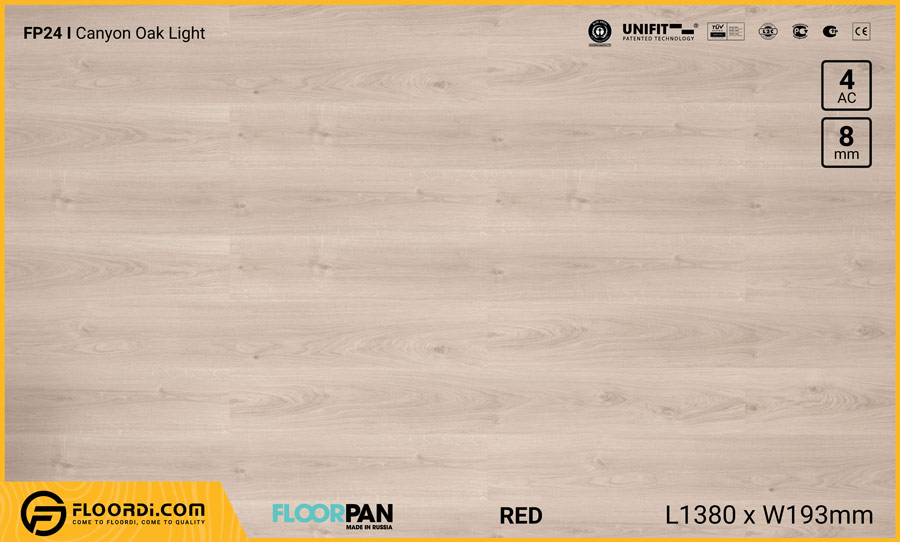 Sàn gỗ Floorpan FP24 Canyon Oak Light – 8mm – AC4