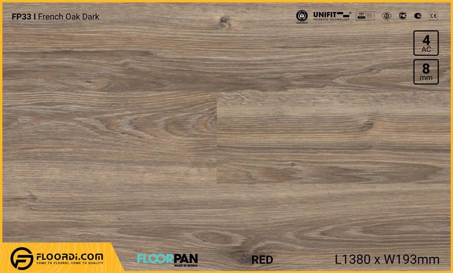 Sàn gỗ Floorpan FP33 French Oak Dark – 8mm – AC4