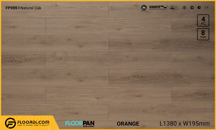 Sàn gỗ Floorpan FP955 Natural Oak – 8mm – AC4
