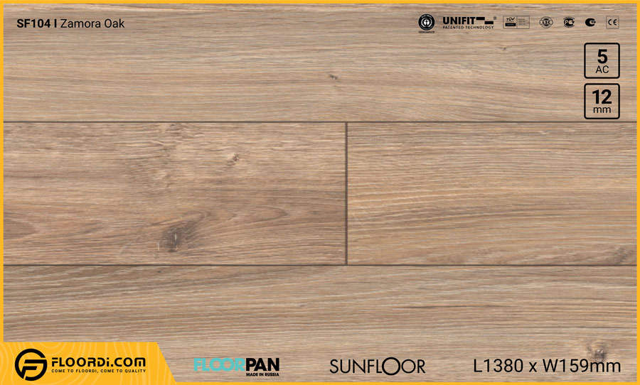 Sàn gỗ Floorpan SF104 Zamora Oak – 12mm – AC5
