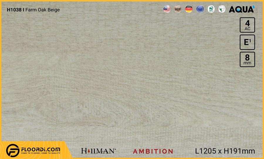 Sàn gỗ Hillman H1038 Farm Oak Beige – 8mm – AC4