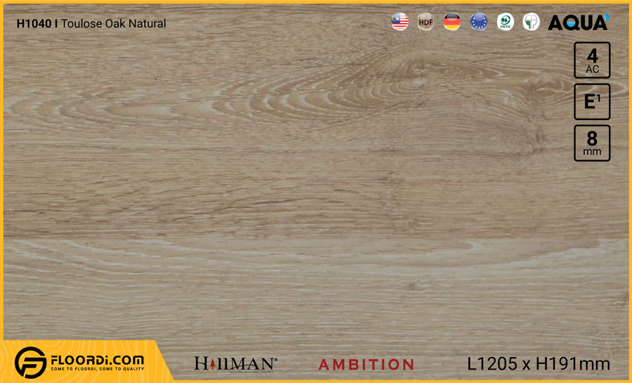 Sàn gỗ Hillman H1040 Toulose Oak Natural – 8mm – AC4