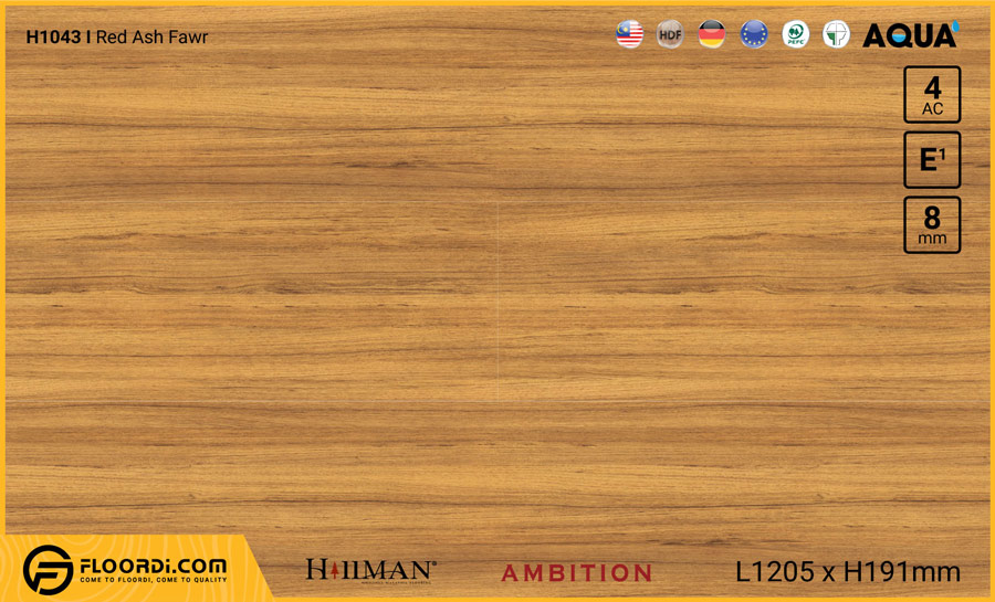 Sàn gỗ Hillman H1043 Red Ash Fawr – 8mm – AC4