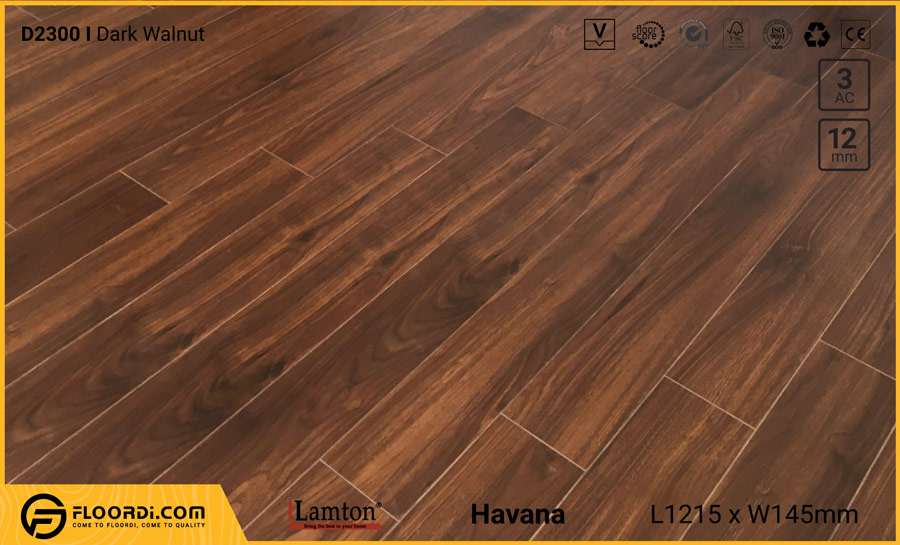 Sàn gỗ Lamton D2300 Dark Walnut – 12mm – AC3