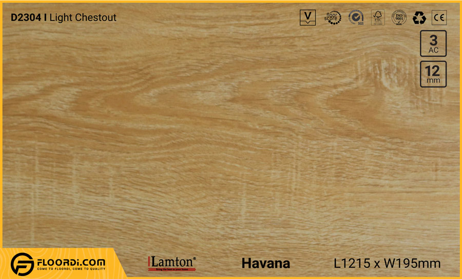 Sàn gỗ Lamton D2304 Light Chestout – 12mm – AC3