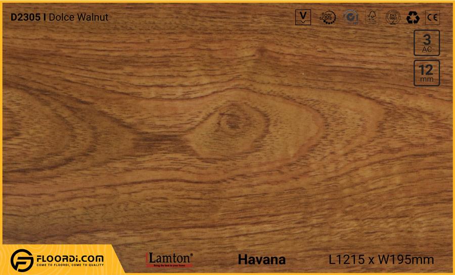 Sàn gỗ Lamton D2305 Dolce Walnut – 12mm – AC3