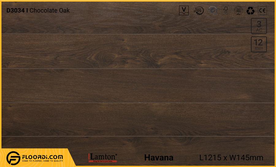 Sàn gỗ Lamton D3034 Chocolate Oak – 12mm – AC3