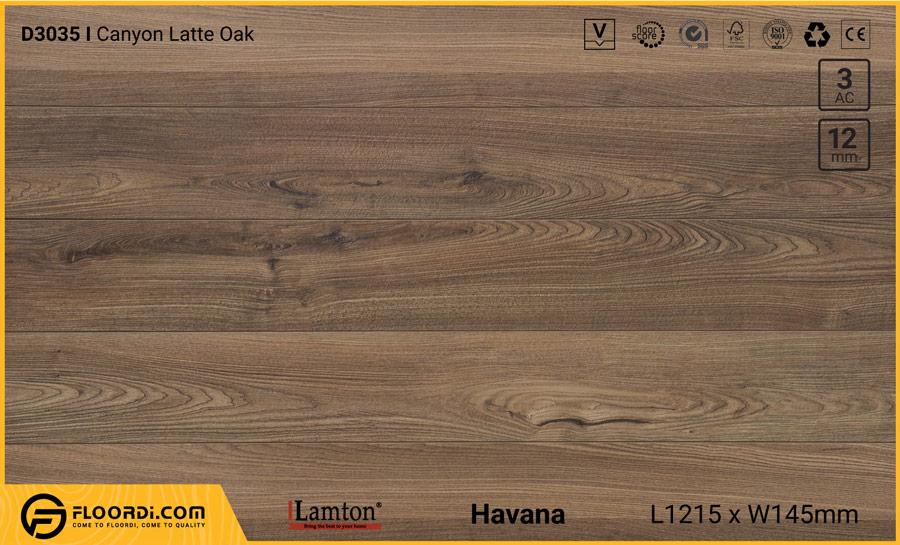 Sàn gỗ Lamton D3035 Canyon Latte Oak – 12mm – AC3