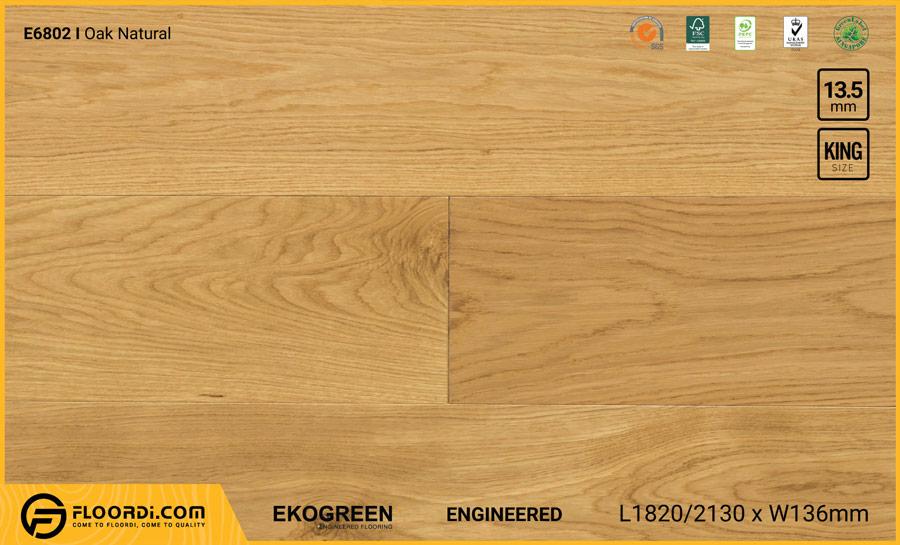 Sàn gỗ sồi Engineered Ekogreen E6802 Oak Natural