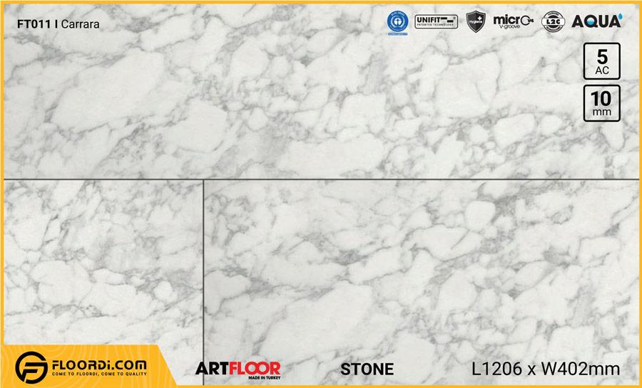 Sàn gỗ vân đá Artfloor FT011 Carrare – 10mm – AC5