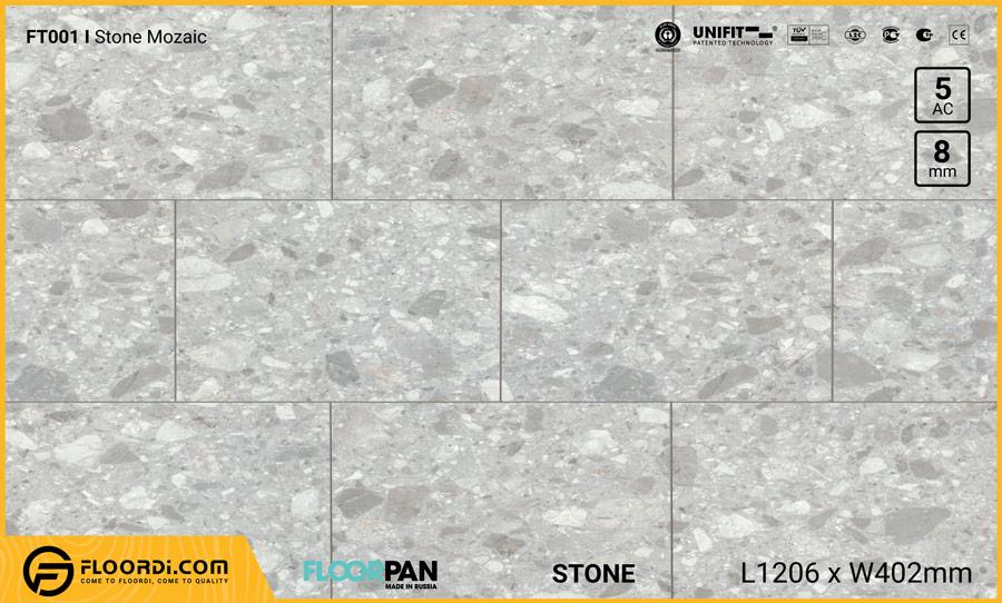 Sàn gỗ vân đá Floorpan FT001 Stone Mozaic – 8mm – AC5