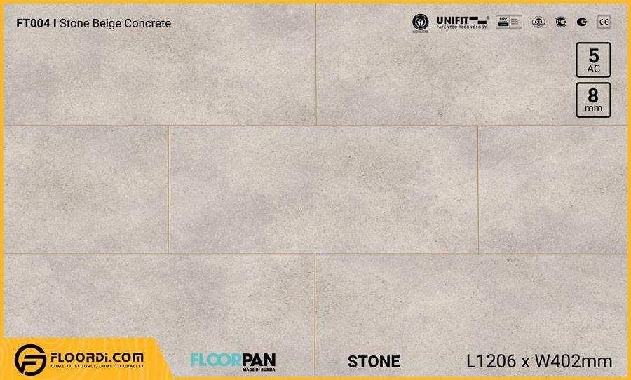 Sàn gỗ vân đá Floorpan FT004 Stone Beige Concrete – 8mm – AC5