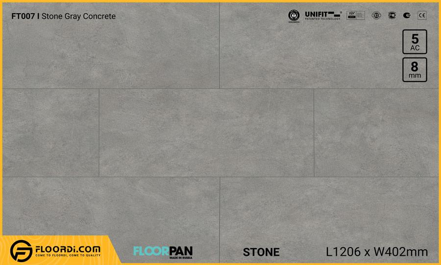 Sàn gỗ vân đá Floorpan FT007 Stone Gray Concrete – 8mm – AC5