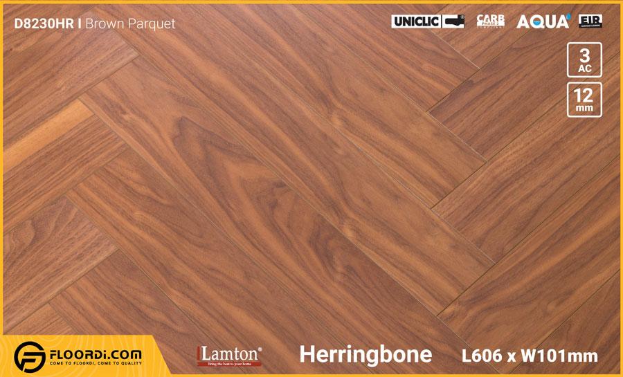 Sàn gỗ Xương Cá Lamton D8230HR Brown Parquet – 12mm – AC3