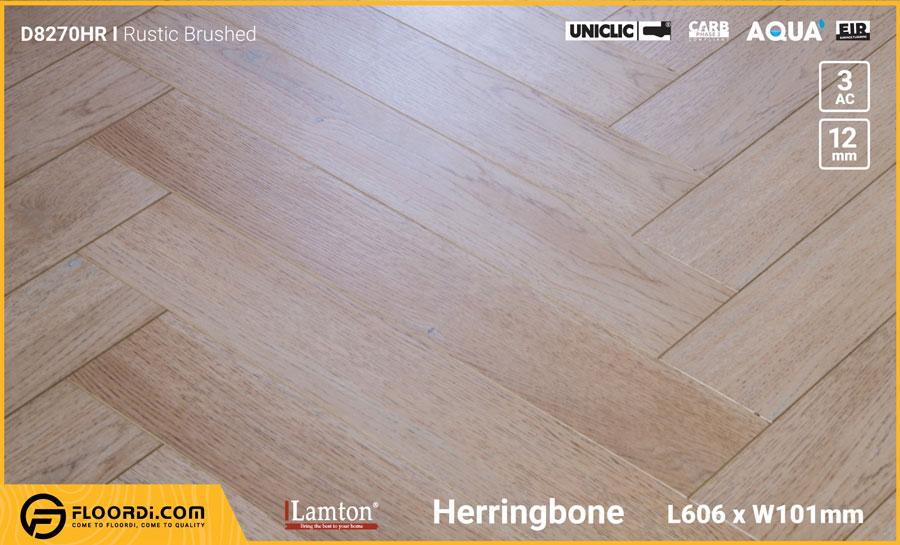 Sàn gỗ xương cá Lamton D8270HR Rustic Brushed – 12mm – AC3