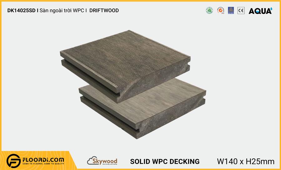 Sàn ngoài trời WPC Skywood Driftwood Solid DK14025SD