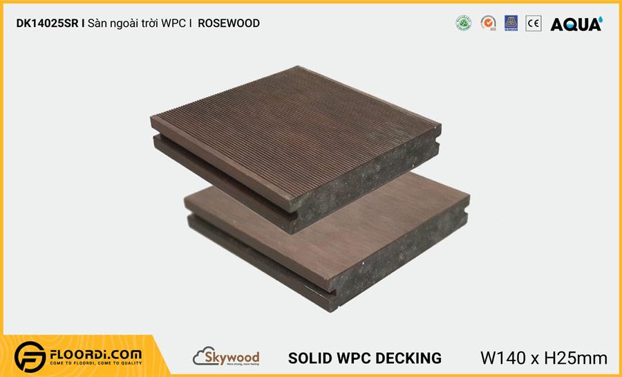 Sàn ngoài trời WPC Skywood Rosewood Solid DK14025SR