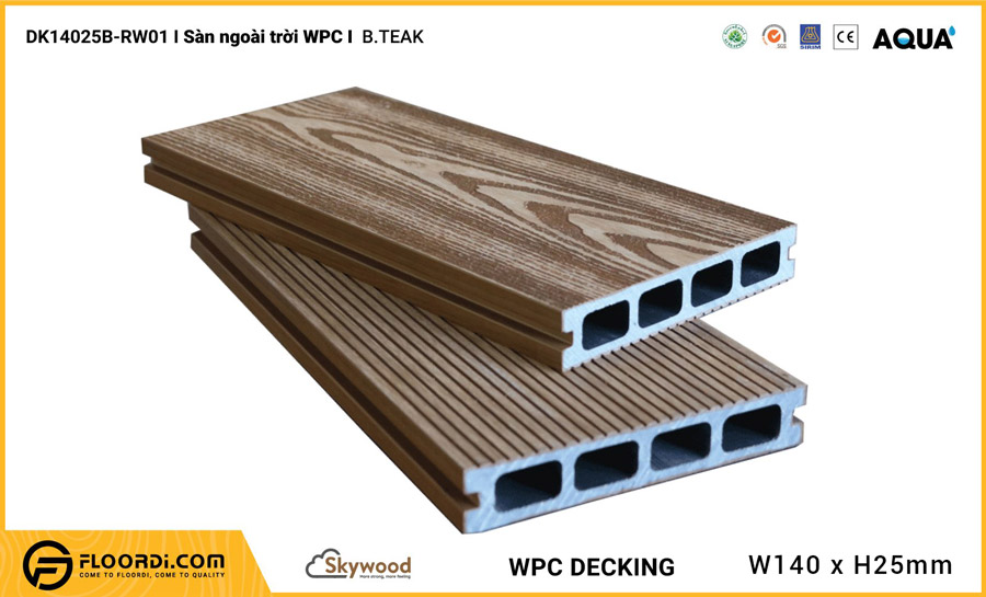 Sàn ngoài trời WPC Skywood – B.Teak – DK14025B-RW01