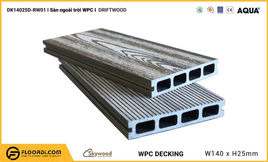 Sàn ngoài trời WPC Skywood – Driftwood – DK14025D-RW01