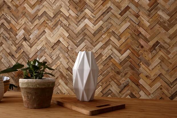 Ốp tường gỗ kiểu xương cá
