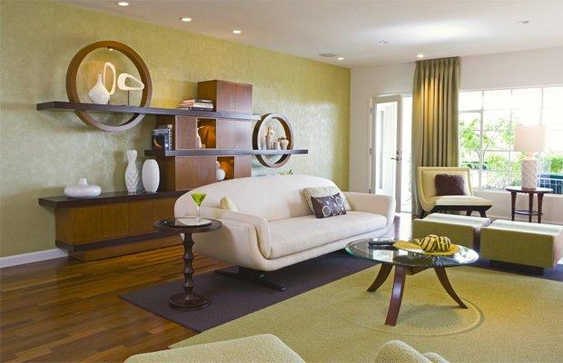 Style Color Block kết hợp sàn gỗ màu tối