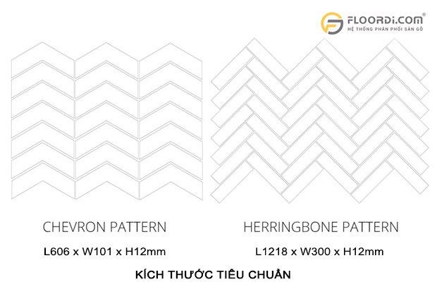kích thước gỗ lát sàn xương cá Herringbone và Chevron