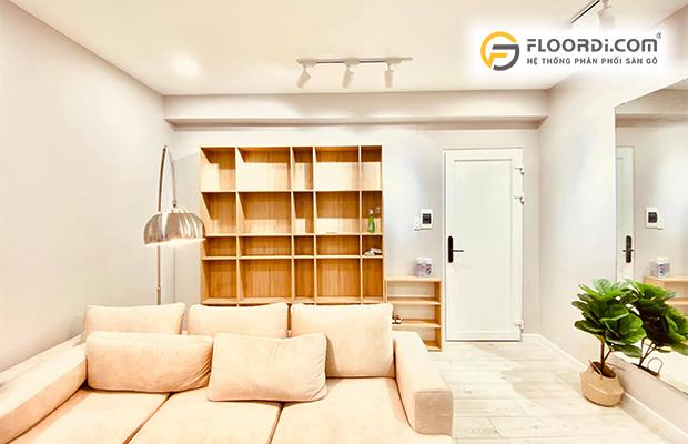 Phòng khách Minimalism với sàn gỗ