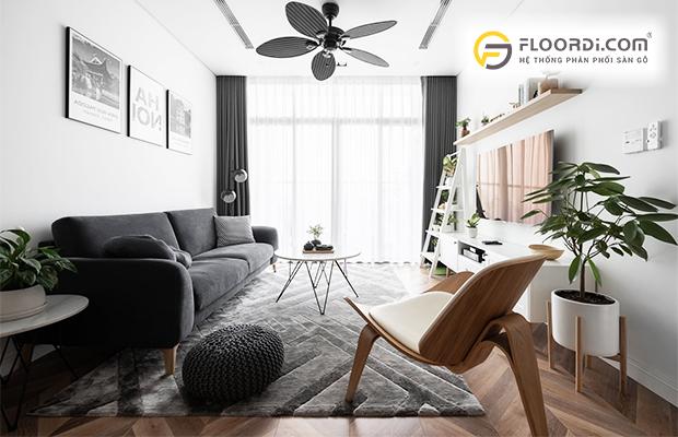 Phối màu sàn gỗ với nội thất phòng khách