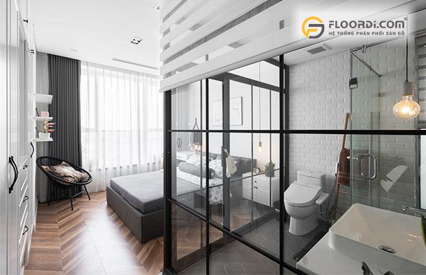 Lát sàn gỗ xương cá cho phòng ngủ