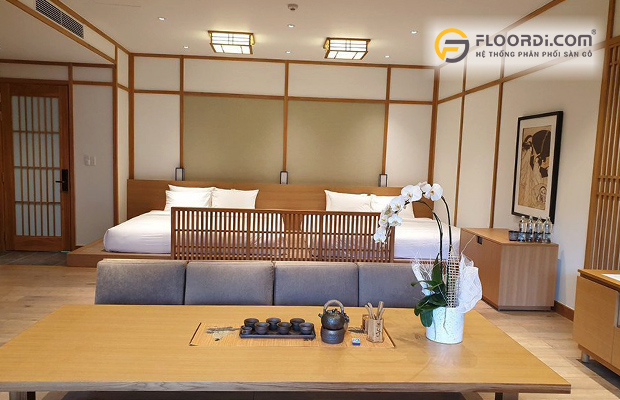Sàn gỗ phòng ngủ màu sắc hiện đại