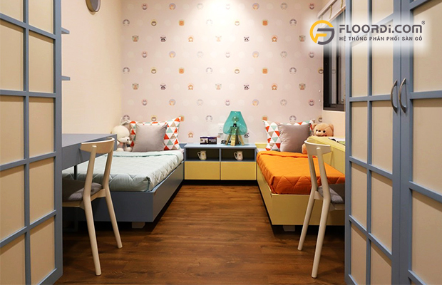 Sàn gỗ phòng ngủ màu trung tính