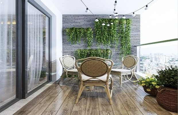 Trang trí ban công chung cư ấn tượng đẹp lung linh với nền ốp sàn gỗ