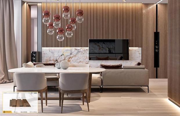 ưu điểm khi lựa chọn gỗ ốp tường phòng khách