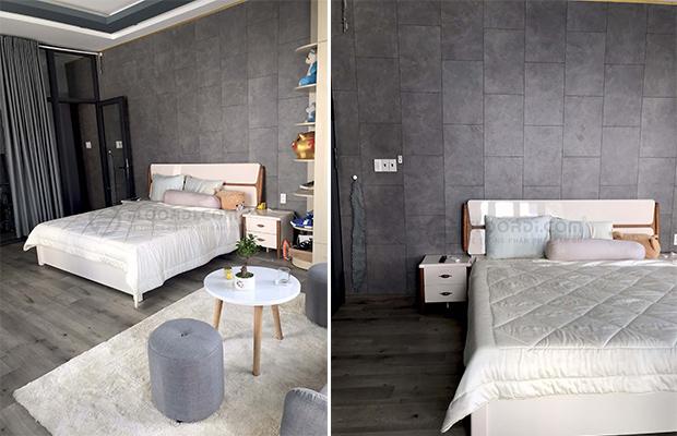 Decor tường phòng khách với sàn gỗ vân đá