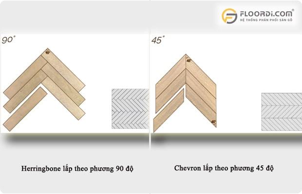 Herringbone lắp theo phương vuông góc 90 độ còn Chevron thì 45 độ