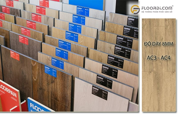Ván sàn có độ dày 8mm tương thích với chỉ số AC đạt mức AC3 - AC4