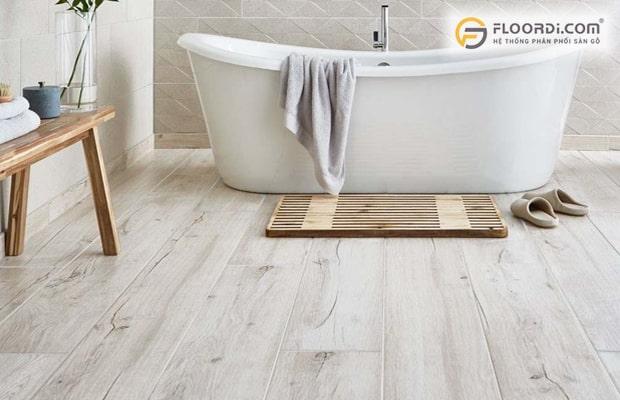 Sàn nhựa vân gỗ cho khả năng chống nước 100% phù hợp lắp ở những khu vực phòng tắm