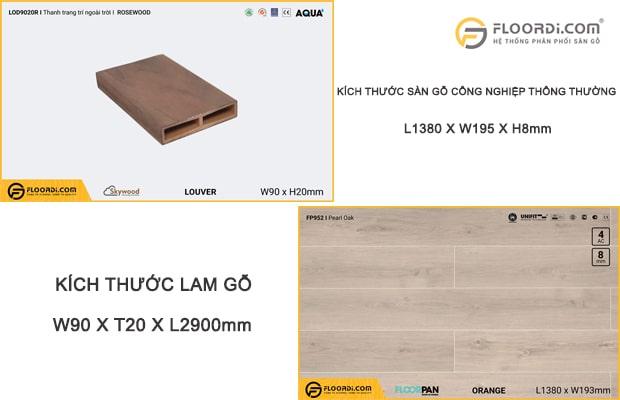 Kích thước lam gỗ nhựa có chiều dài lớn hơn