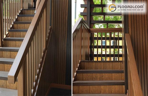 Sử dụng lam gỗ nhựa để ốp cầu thang